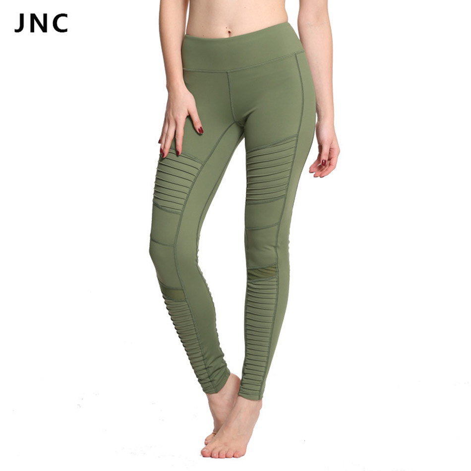 2017 New Green Moto Yoga Leggings Mesh Patchwork Yoga Pants for Women High Waist Sports Pants JNC0210