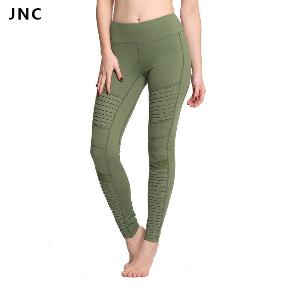 2017 New Green Moto Yoga Leggings Mesh Patchwork Yoga Pants for Women High Waist Sports Pants JNC0210