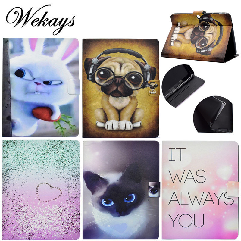Wekays Ultrathin Cartoon Dog Cat Leather Flip Fundas <font><b>Case</b></font> For Samsung Galaxy Tab 3 10.1 inch P5200 P5220 <font><b>P5210</b></font> Tablet Cover <font><b>Case</b></font> image