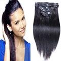 Remy Virginal Brasileño Clip En Extensiones de Cabello Clip En Brasil Extensiones de cabello 1B Negro Clip En Extensiones de Cabello Humano 120g 8 unids