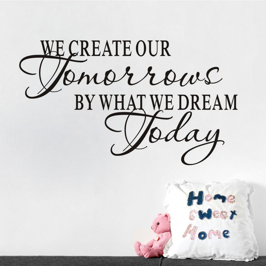 Diy We Create Our Tomorrow Inspiring Decal Removable Vinyl Wall Sticker Kids Room Decoration Quotes Art Home Mural Decor Sticker