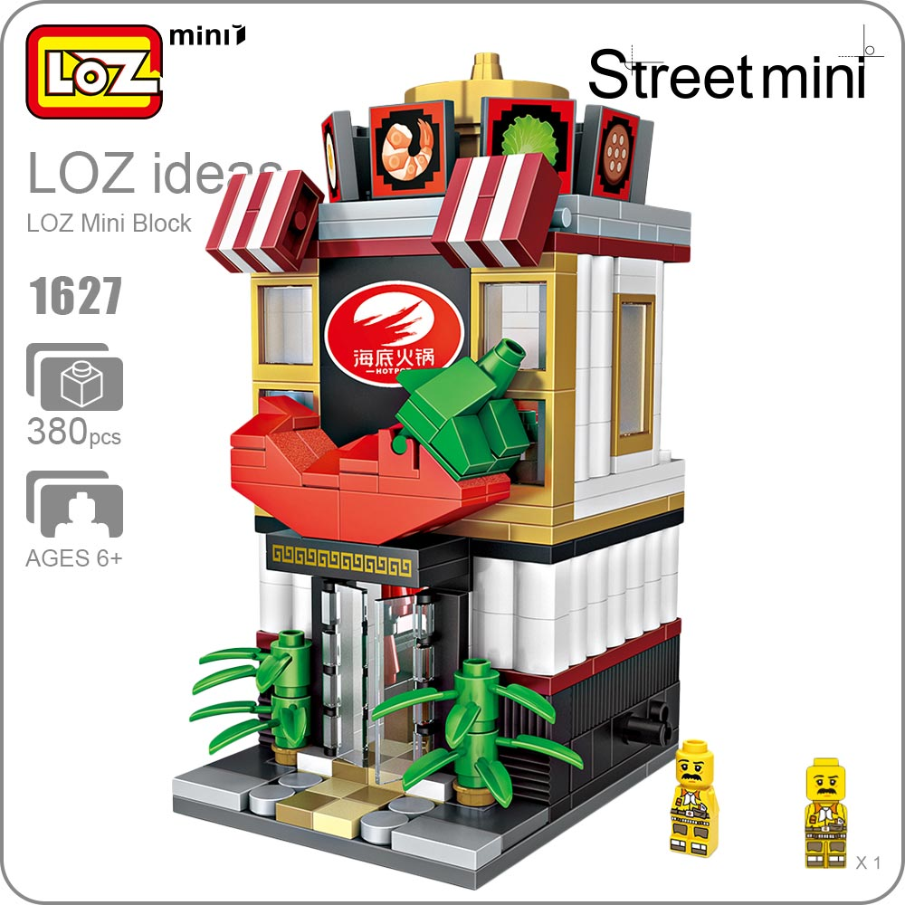 LOZ Mini Blocks Hot Pot Shop Model Chinese Food Toy City Series Mini Street View Building Blocks Set Plastic Assembly Toys 1627 loz diamond blocks assembly display case plastic large display box table for figures nano pixels micro blocks bricks toy 9940