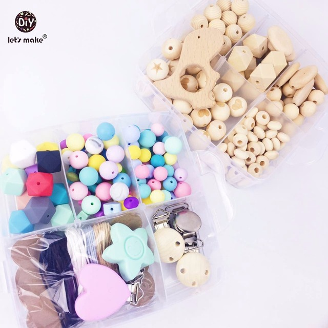 Let's Make Baby Teether Wood Animal Rattle Organic Teether Jungle Toy Wooden Waldorf Toys Teether Necklace Bracelet DIY Beads