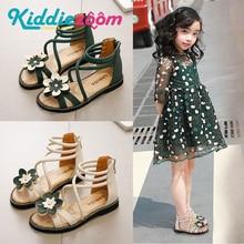 Girl Sandals Summer Shoes Cute Flower Roman Shoes White Green Pearl Beading Open toe Kids Girls Beach Sandals Kids Shoes Zip