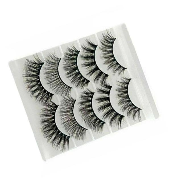 5Pair Mink Hair False Eyelashes Natural Cross False Eyelashes Long Messy Makeup Fake Eye Lashes Extension Make Up Beauty Tools 3