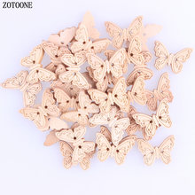 ZOTOONE 100PCS Wooden Buttons Butterfly Shape 2 Holes Fit Sewing DIY Scrapbook Decorative for Crafts C