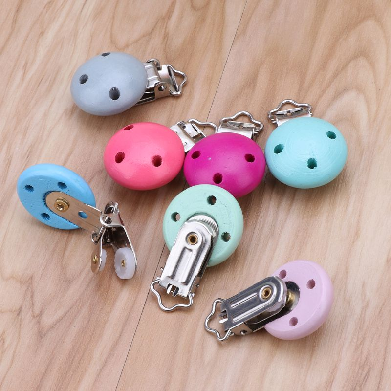 Baby Pacifier Clip Wood Metal Holder Cute Infant Soother Clasp Nipple Holder