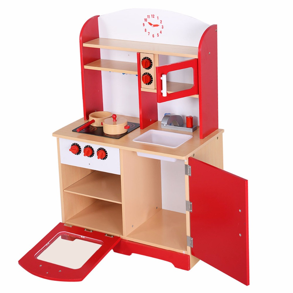 Goplus RU Kids Kitchen Play Set Modern Wood Pretend Toy Cooking Set Children Cabinet Toddler Cook Playset Baby Gifts TY322392