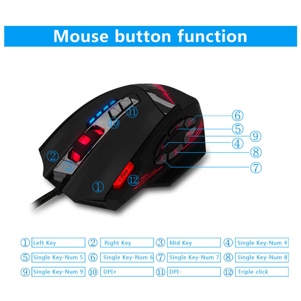 ZELOTES C-12 السلكية ماوس USB ماوس الألعاب البصرية 12 أزرار للبرمجة ألعاب كمبيوتر الفئران 4 قابل للتعديل DPI 7 LED أضواء