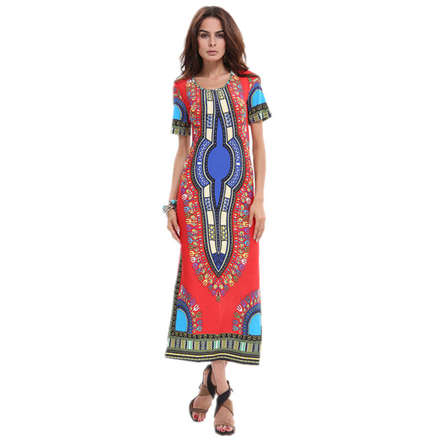 Robe Long Dashiki Womens african Traditional Clothing Summer Sexy Dress  Bodycon Print Dresses American Apparel Red Ethnic Maxi 1fb173bc6e36