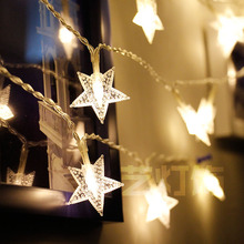 купить 20M 200 Led Star 220V EU Fairy Lights Christmas Star String Light Garland Led Curtain for Wedding/home/party/birthday Decoration дешево