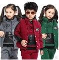 New 2016 fashion double warm autumn  winter cotton boys   girls clothing sets  kids clothes 3 pieces   active suits #1430