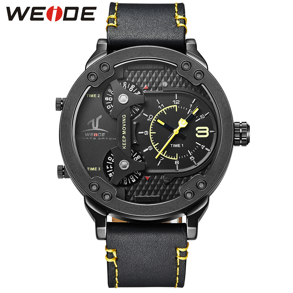 Подробнее о WEIDE Multiple Time Zone Waterproof Leather Strap Stainless Steel Buckle Black Yellow Dial Analog Quartz Men Sport Wrist Watch weide dual time zone analog quartz stainless steel wrist watch date alarm stopwatch display waterproof new luxury big dial clock