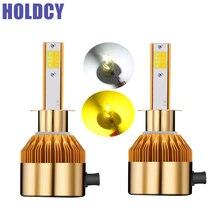 Holdcy H1 H3 вел Фары для автомобиля лампы 3000 К 6000 К 9600lm все в одном автомобиле светодиодные лампы фар автомобиля фара 12 В белый желтый