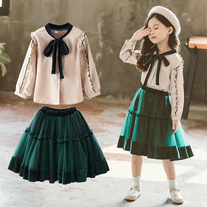 Fashion Princess Clothing Set Girls Bow Blouse and Solid Lace Skirt Two Piece Girl Set Spring Autumn School Teenage Skirt SetsFashion Princess Clothing Set Girls Bow Blouse and Solid Lace Skirt Two Piece Girl Set Spring Autumn School Teenage Skirt Sets
