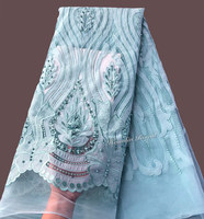 baby green soft tulle lace african french lace with beads very soft 5 yards/ pc good choice