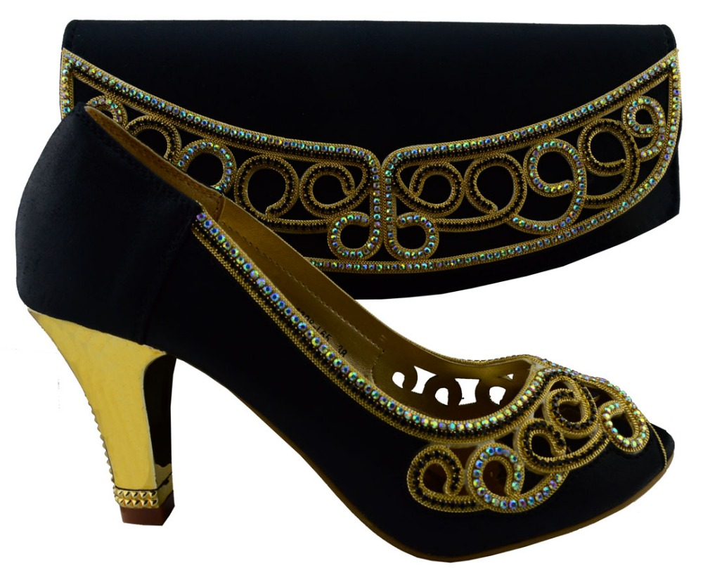 Sandals and shoes wholesale - Wholesale Price African High Heel Sandal Shoes And Handbag Sets With Stones 1308 L65 Black