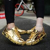 Große Größe Männer Schuhe Marke Sommer Wohnungen Männer Casual Schuhe Lace Up Herren Trainer Goldene Mode Liebhaber Zapatillas Deportivas Hombre