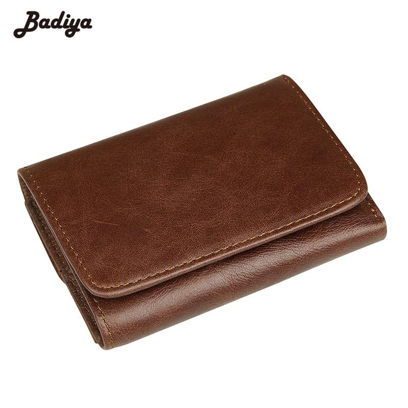 Fashion RFID Blocking Genuine Leather Short Wallet For Men Solid Card Holder Purse Trifold Men's Wallet