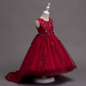 Image 5 - Różowa dziewczyna druhna ślubna romantyczna sukienka elegancka dziewczyna element ubioru, aby wziąć udział w piłce święty posiłek ogon aplikacja
