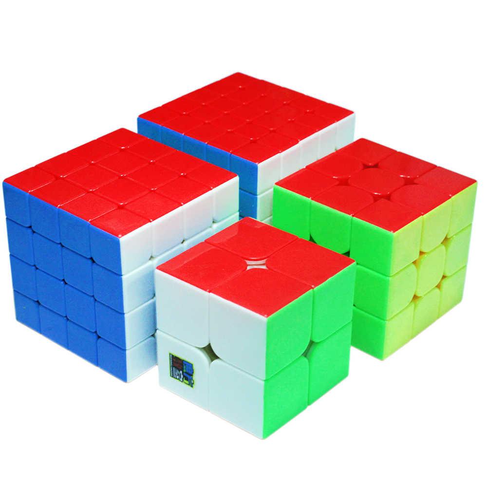طقم مكعبات MoYu 2x2x2 3x3x3 4x4x4 5x5x5 أُحجية مكعبات سحرية لاصقة للأولاد 2*2*2 3*3*3 4*4*4 5*5*5 Mofangjiaoshi Cubos