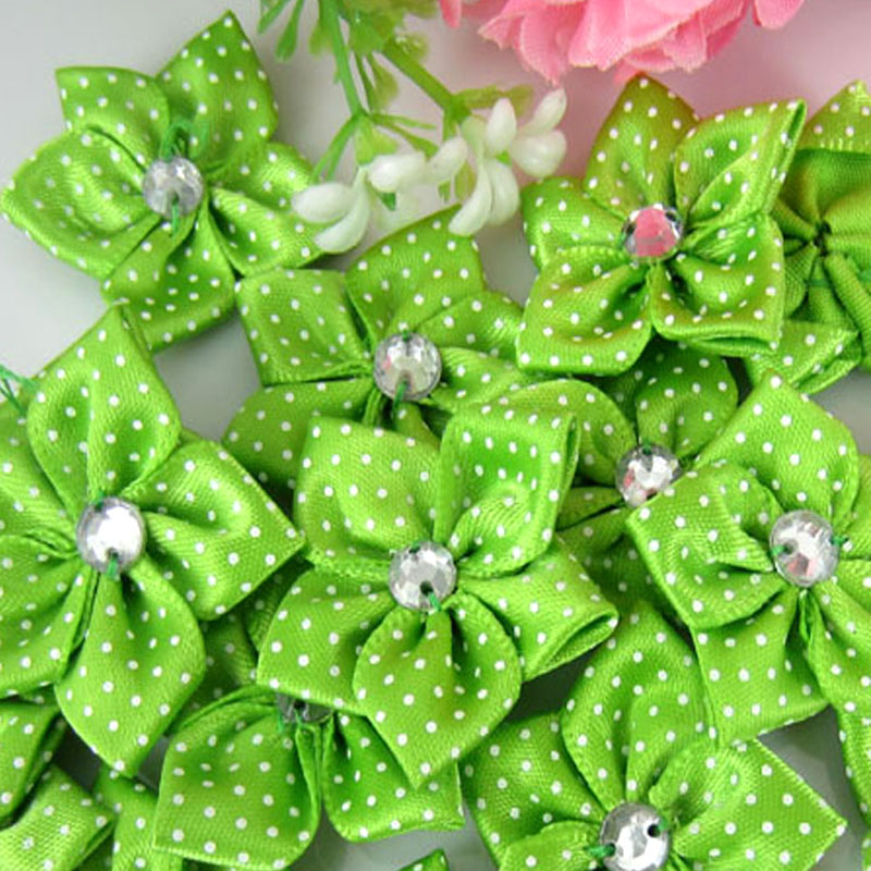 40pcs green satin dot ribbon flower with acrylic rhinestone fabric flowers  applique craft wedding decorations 3.5cm-in Artificial   Dried Flowers from  Home ... 2038b03f9d73
