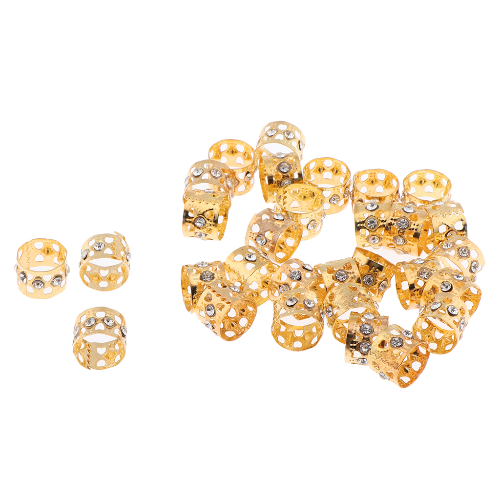 30pcs Crystal Hair Cuffs Aluminum Dreadlock Beads DIY Hairstyle Braid Golden(China)