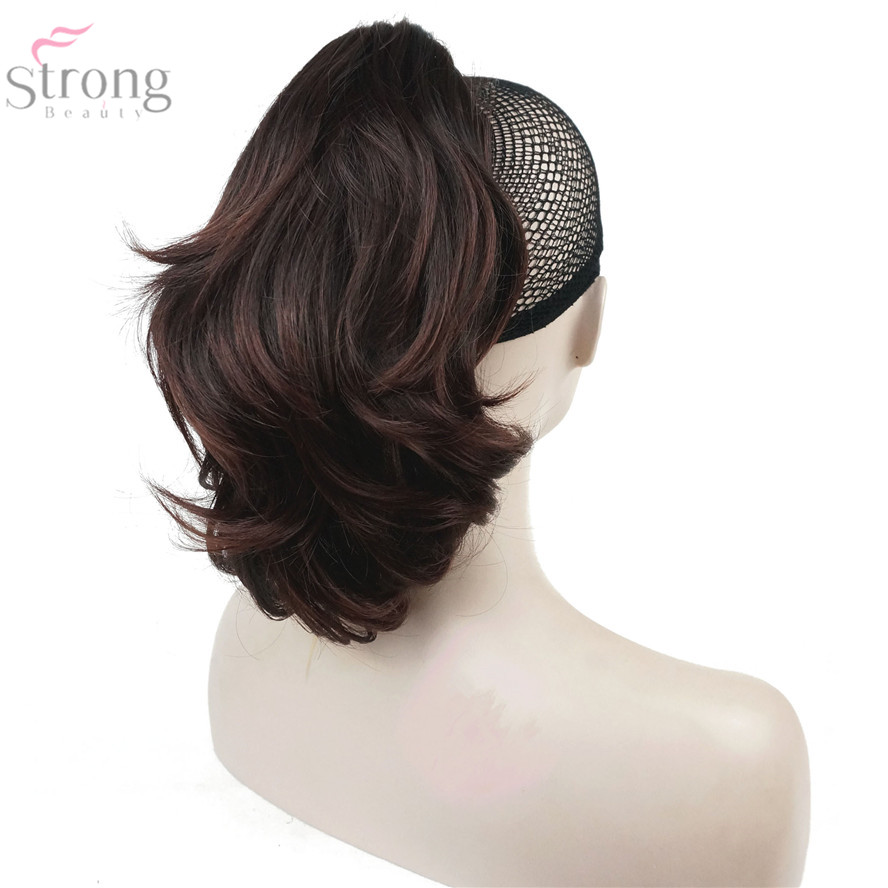 StrongBeauty Crush Claw Clip Ponytail Hairpiec Short Straight Dual Use Styled Hair Extension Synthetic