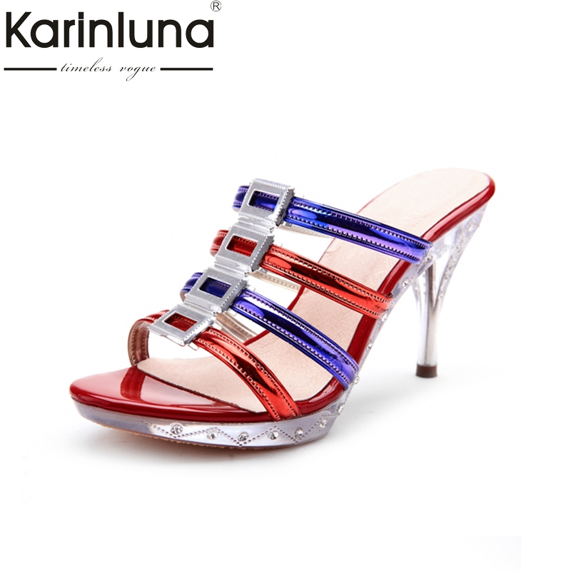 KarinLuna New Brand PVC Thin High Heels MIXed Colors Summer Mules Pumps Shoes Women Sexy Crystals Party Woman Shoes karinluna best quality crystals brand big size 34 43 sexy high heels summer sandals shoes women party woman shoes