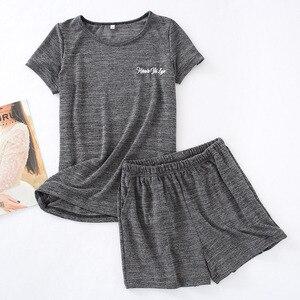 Image 3 - גבירותיי פיג מה סט קיץ קצר שרוול למעלה + מכנסיים קצרים מוצק צבע הלבשת נוחות רך עגול צוואר מזדמן ללבוש נשים Loose homewear
