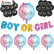 Baby Shower Gender Reveal Birthday Party He or She Boy Girl Foil Balloon Decoration Kids Hanging Banner Shower,Q