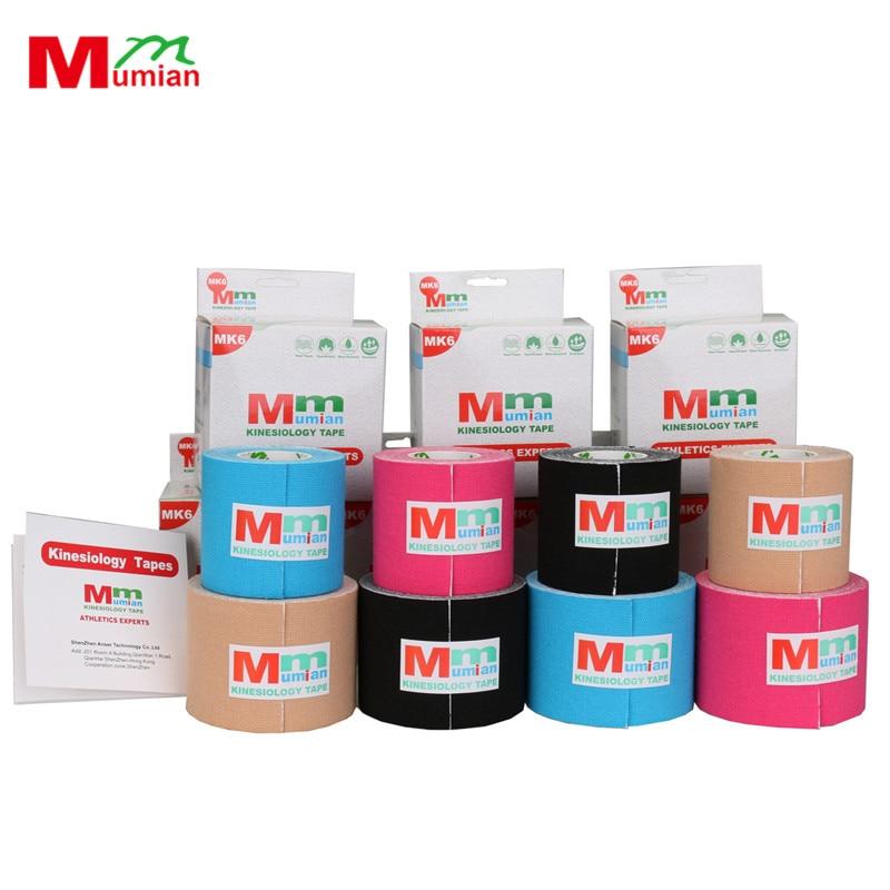 MUMIAN MK6-5m 5 см * 5 м Кинезиологии Лента Хлопок эластичный клей Мышечные Спорт Лента Roll Уход За Колено Бинт поддержка с коробкой