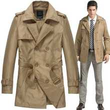 2016 Fashion British Style Autumn Men High Quality Trenchcoat Casual Mens Trench Coats Long Jacket Plus Size A3709