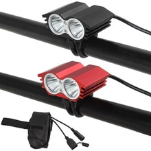 Black / Red 4 Modes 1200LM 2 x XM-L T6 LED Bicycle Light with USB Port + 4.2V 8800mAh Battery Pack