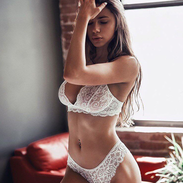 Hot Ladies Sexy Lingerie Underwear Floral Lace Mesh Deep V Transparent  Temptation Bra and Brief Fun Soft Women Thin Cloth Sets 757a68001