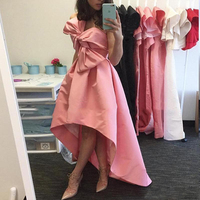 Sexy Sweetheart High Low Evening Gowns 2018 Strapless Pink Bow Prom Party Gowns Abendkleider Wedding Guest Formal Dress vestido