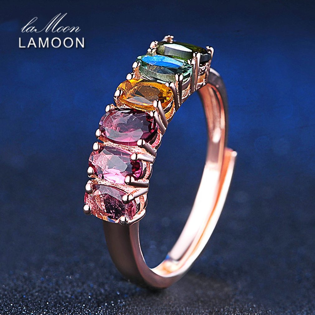 LAMOON Fine Jewelry Body Ring Making Colorful Natural Gemstone Tourmaline Rings 925 Sterling Silver Rose Fashion