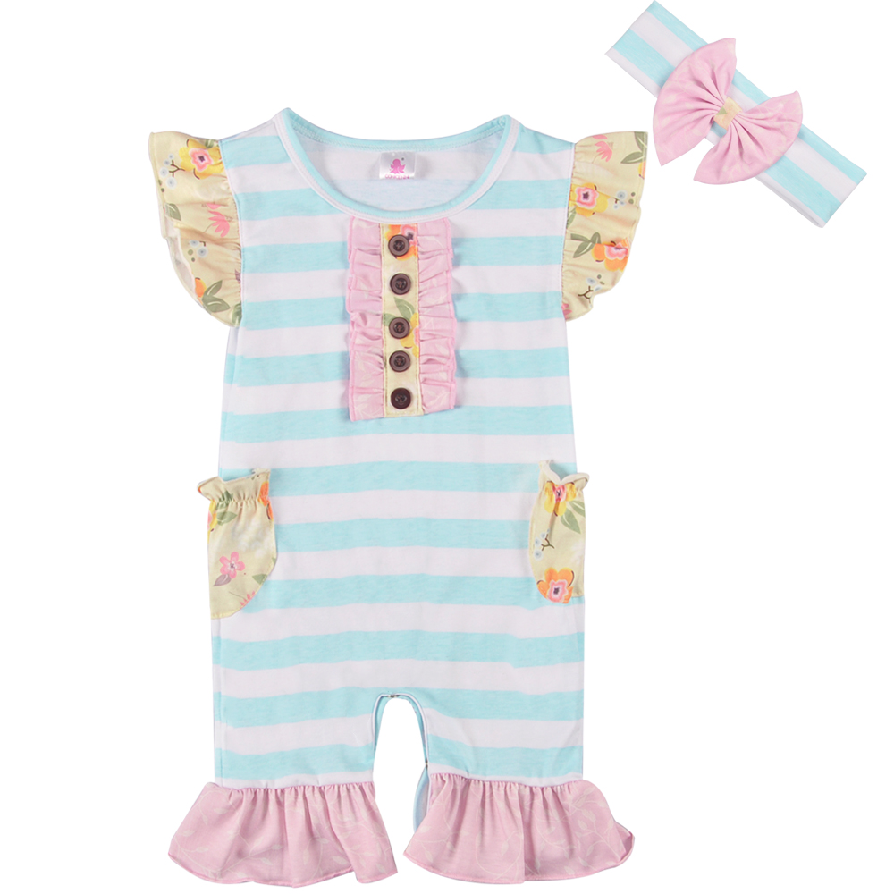 New Arrival Spring And Summer Baby   Romper   Clothes Blue Striped Ruffle Newborn Party Clothes With Headband GPF802-070