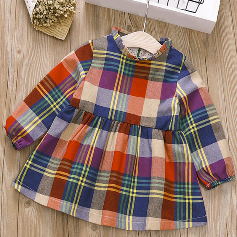 2019 Spring New Baby Girl Dressteenage Kids Clothes Baby Dresses Cotton Plaid Long Sleeve Dress Baby Girl Party Dress