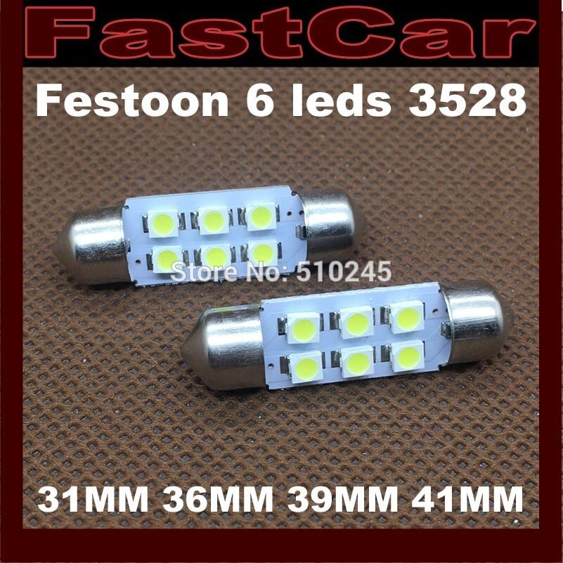 100x hot selling Car led 31MM 36MM festoon 39MM 41MM lighting c5w 6 leds smd 6smd 3528 Auto led bulbs Free shipping