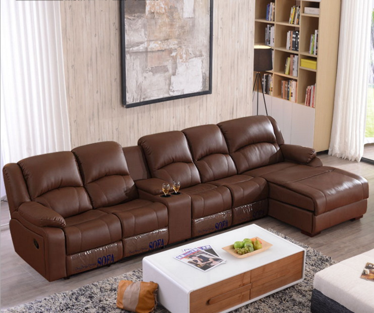living room sofa Recliner Sofa, cow Genuine Leather Sofa, Cinema 4 seater+coffee table+chaise sectional L shape home furniture recliner