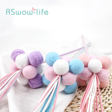 2pcs Funny Cat Handmade Feather Pompom Tassels Poles Young Pet Toy Fun Stick