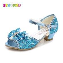 Обувь на высоком каблуке для девочек, модная детская обувь принцессы с блестками и жемчужным бантом, детские сандалии, голубые, розовые, золотые, серебряные свадебные туфли для девочек