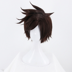 Image 3 - Game OW Overwatch Tracer Short Brown Cosplay Wig Synthetic Halloween Costume Party Stage Play Brown Hair Wigs