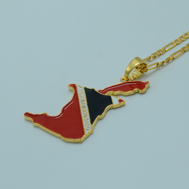 trinidad tone pendant flag with figaro necklace gold tobago dp and chain