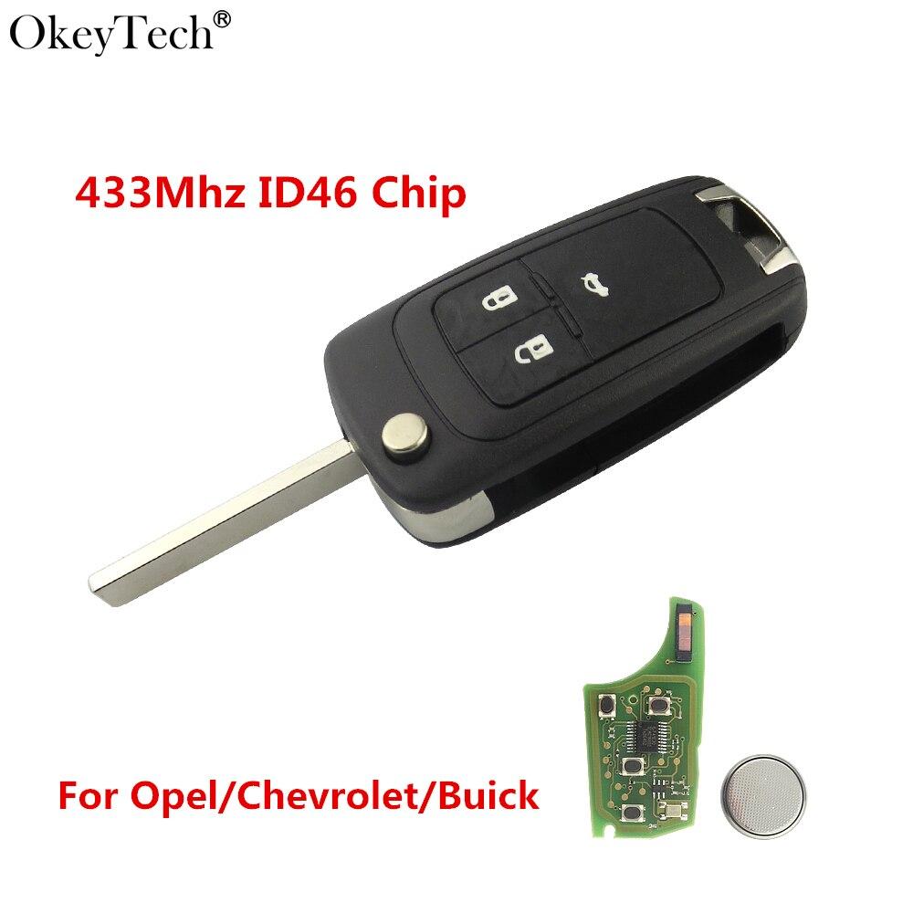 Okeytech 3 Кнопка флип складной дистанционного Ключи 433 мГц ID46 чип для Vauxhall Opel Insignia Astra J Corsa e Zafira C 2009-2016