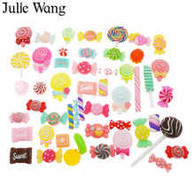Julie Wang 20PCS Randomly Sent Resin Lollipop Candy Slime Cabochon Charms Pendant Jewelry Making Accessory Home Phone Decoration(China)