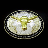 Longhorn Bull horse shoe Ковбой Пастушка ремень в стиле вестерн пряжка серебро золото подходит 4 см Ширина ремень