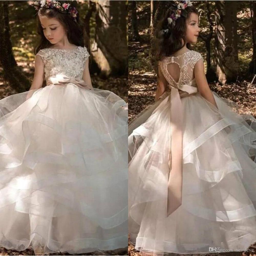 2019   Flower     Girls  '   Dresses   Cap Sleeves Tulle Ruffles Skirt Lace 3D Floral Beaded Bow Sash Kids Formal Wear Hollow Back Gi