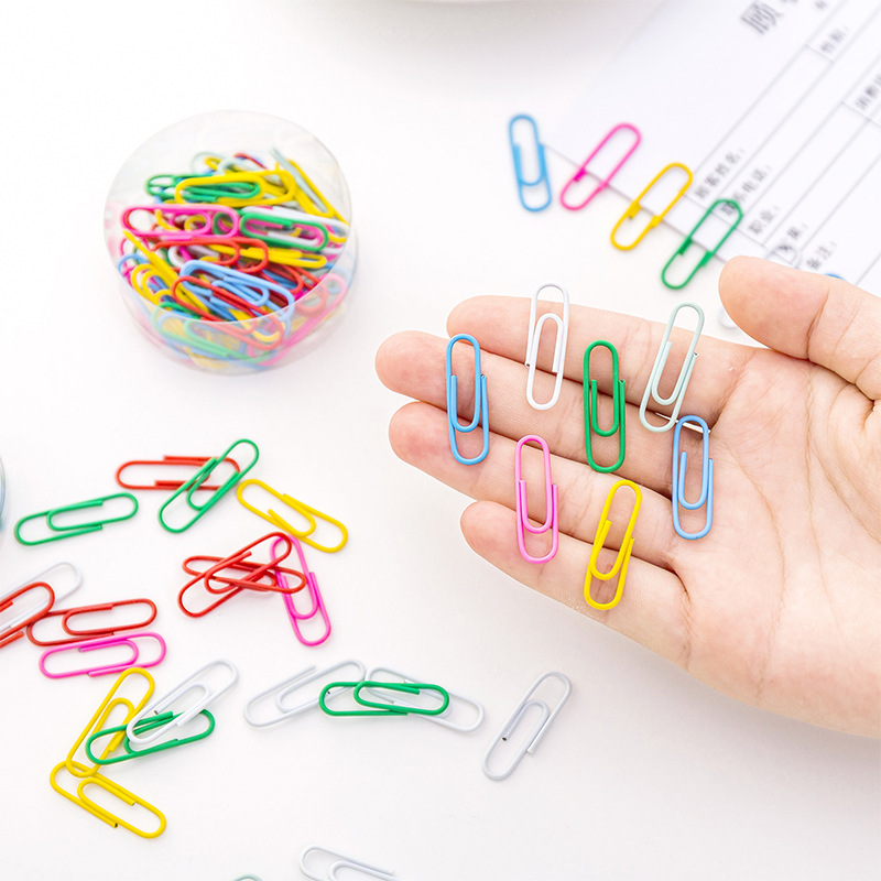 50pcs/box Metal Cute Colorful Paper Clip For Office & School Supplies Stationery Metal Photo Paperclips Clamp